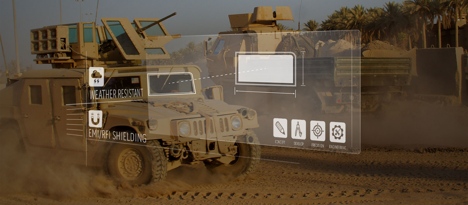 Military hummvee in desert with overlay graphic popping up on the image